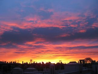 Sunset over Astoria from Dina Comolli's rooftop